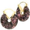 Rhodonite Donuts Brass Earrings (price for pair) Orecchio