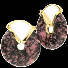 Rhodonite Donuts Brass Earrings (price for pair)
