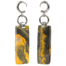 Bumblebee Jasper Pendants with Steel Hook (price for pair)