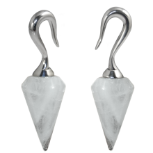 Natural Stones White Quarzt Prism Pendants (Price for Pair)