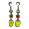Lemon Quartz and Fire Opal Black Rhodium Silver Pendants (price for pair) Gioielli da lobo