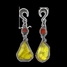 Lemon Quartz and Fire Opal Black Rhodium Silver Pendants (price for pair)