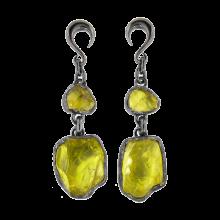 Lemon Quartz Black Rhodium Silver Pendants (price for pair)