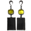 Lemon Quartz and Black Tourmaline Black Rhodium Silver Pendants (price for pair) Gioielli da lobo