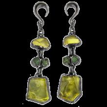 Lemon Quartz and Peridot Black Rhodium Silver Pendants (price for pair)