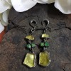Lemon Quartz and Peridot Black Rhodium Silver Pendants (price for pair) Gioielli da lobo