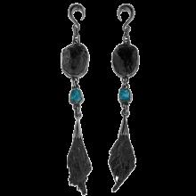 Black Tourmaline, Black Kyanite and Apatite Black Rhodium Silver Pendants (price for pair)
