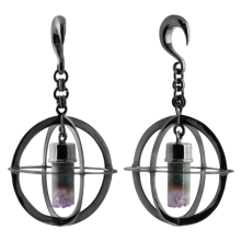 Black Brass Oval Weights with Dangling Amethyst Geode