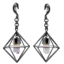 Black Brass Triangular Weights with Dangling Amethyst Geode