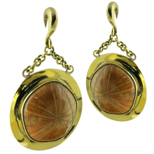 Fossil Sea Urchin in Brass Pendant Earrings (price for pair)