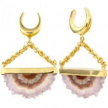 Handmade Slice Geode Amethyst Dangling in Brass Set (price for pair)
