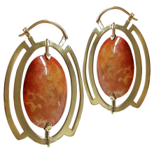 Turning Fossil Coral in Brass Earring (price for pair)