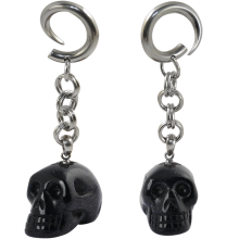 Natural Stone Blue Sand Stone Skull Dangling (Price for Pair)