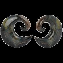 Spiral Blade Stone Blue Tiger Iron (price for pair)