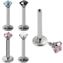 Surgical Steel Internally Threaded Labret with 2.5mm Round Prong Set Jeweled
