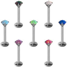 Internally Steel Threaded Labret Prong Set Opal