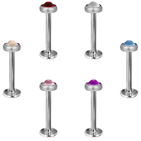 Titanium Labret with Jewelled Disk