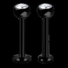 Black Titanium Internally Micro Labret With Swarovski Zirconia (3mm|4mm Disc)