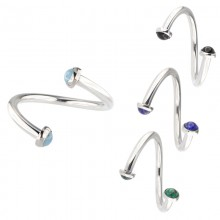 Raindrop Steel Bracelet with Natural Stone Disc