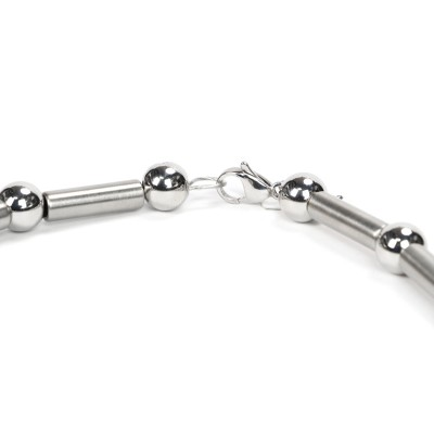 Steel Ball and Tube Necklace Necklace