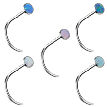 Surgical Steel Curved Opal Cabochon Nose Stud (2.35mm Opal)
