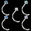Surgical Steel Prong Set Opal Cabochon Nose Stud (3.00mm Opal) Nostril e Cerchi