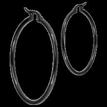 Steel Black PVD Round Hoop Earrings