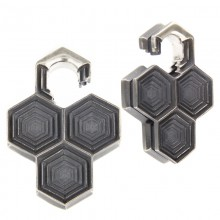 Black Silver Dizzycomb Ear Weights (price for pair)
