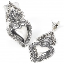 El Rana Silver Ear Pendants Big Sacred Heart (price for pair)