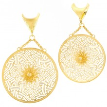 Silver Gold Plated Sayagata Large Hoops with Diamond (price for pair)