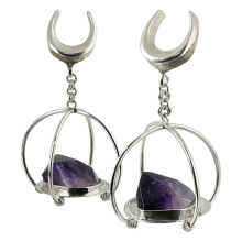 Amethyst from Brazil in Silver Basket Pendant (price for pair)