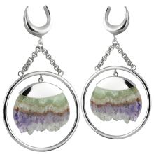 Handmade Slice Geode Amethyst Dangling in Silver Ring (price for pair)