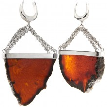 Handmade Big Slide Blue Amber Dangling in 925 Silver Set (price for pair)