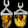 Handmade Big Slide Chiapas Amber Dangling in 925 Silver Set (price for pair) Orecchio
