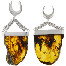 Handmade Big Slide Chiapas Amber Dangling in 925 Silver Set (price for pair)