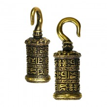 Brass Mini Prayer Wheel Ear Weight h35mm (price for pair)