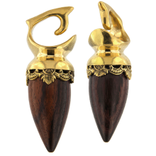 Brass Ethnic Weights with Wood Element (price for pair)