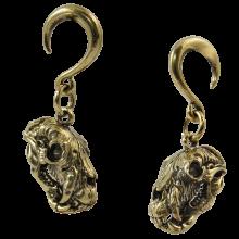Brass Ear Weight Bear Skull Pendant (Price for Pair)