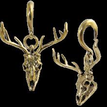 Brass Ear Weight Deer Skull Pendant (Price for Pair)