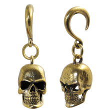 Brass Ear Weight Skull Pendant (Price for Pair)