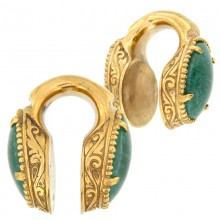 Brass Weigths with Aventurine Cabochon (price for pair)