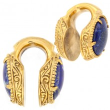 Brass Weigths with Lapis Lazuli Cabochon (price for pair)