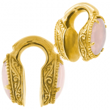 Brass Weigths with Rose Quartz Cabochon (price for pair)