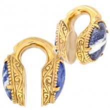 Brass Weigths with Sodalite Cabochon (price for pair)