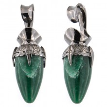 Black Brass Ear Weights with Aventurine Drop Stone (price for pair)