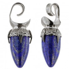 Black Brass Ear Weights with Lapis Lazuli Drop Stone (price for pair)