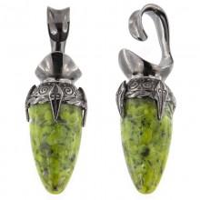 Black Brass Ear Weights with Lizardite (Norwegian Jade) Drop Stone (price for pair)
