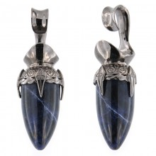 Black Brass Ear Weights with Sodalite Drop Stone (price for pair)