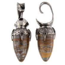 Black Brass Ear Weights with Tiger Eyes Drop Stone (price for pair)