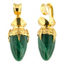 Brass Ear Weights with Aventurine Drop Stone (price for pair)